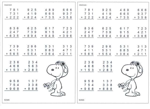 Contas de Adição do Snoopy-Folha 1