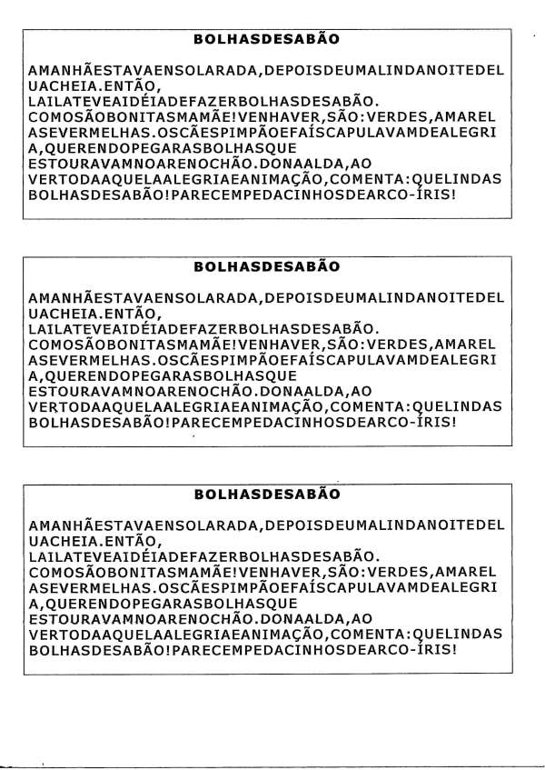Segmentação de Palavras-Bolhas de sabão