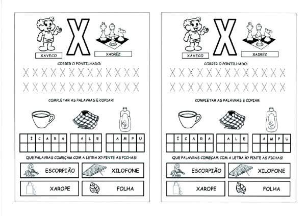 Alfabeto com as Letras Iniciais e Pontilhadas-Parte 6-Letra X