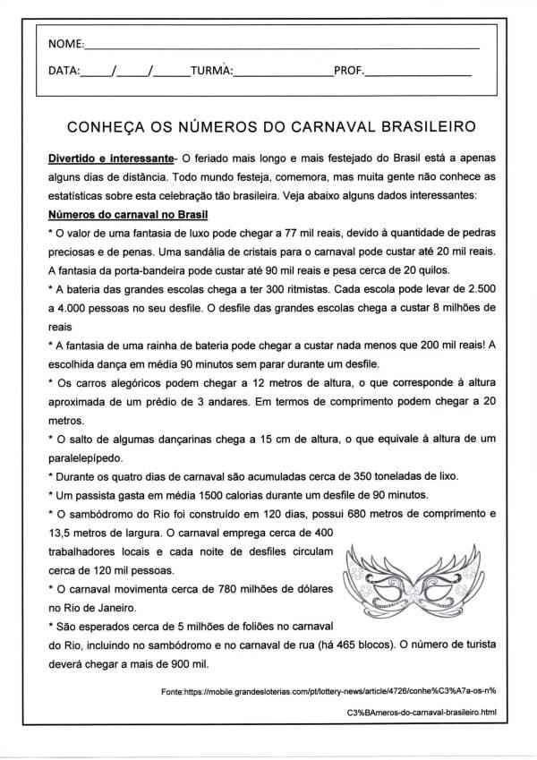Conheça os Números do Carnaval no Brasil-Folha 1