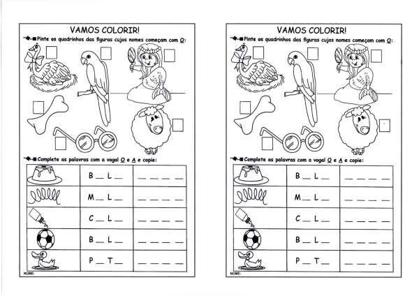 Atividades com vogais-Escrever as iniciais-Folha 2