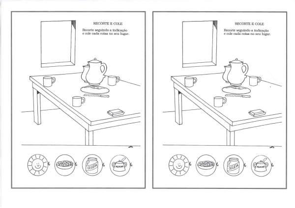 Educação Infantil-Recorte e colagem-Organizando a mesa