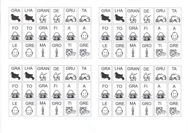 Desenhos com sílabas para montar palavras GRA GRE GRI-Folha 1