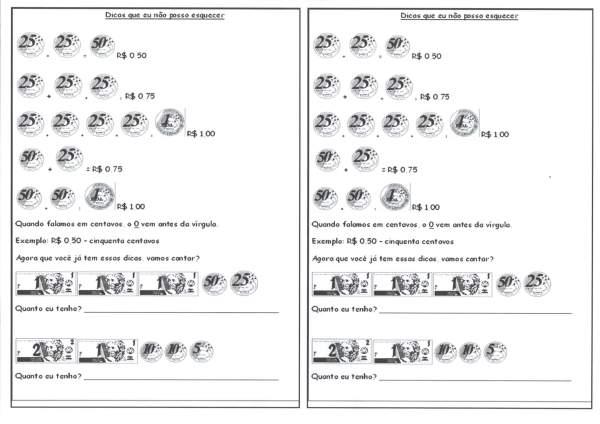 Sistema Monetário-Dicas para usar cédulas e moedas
