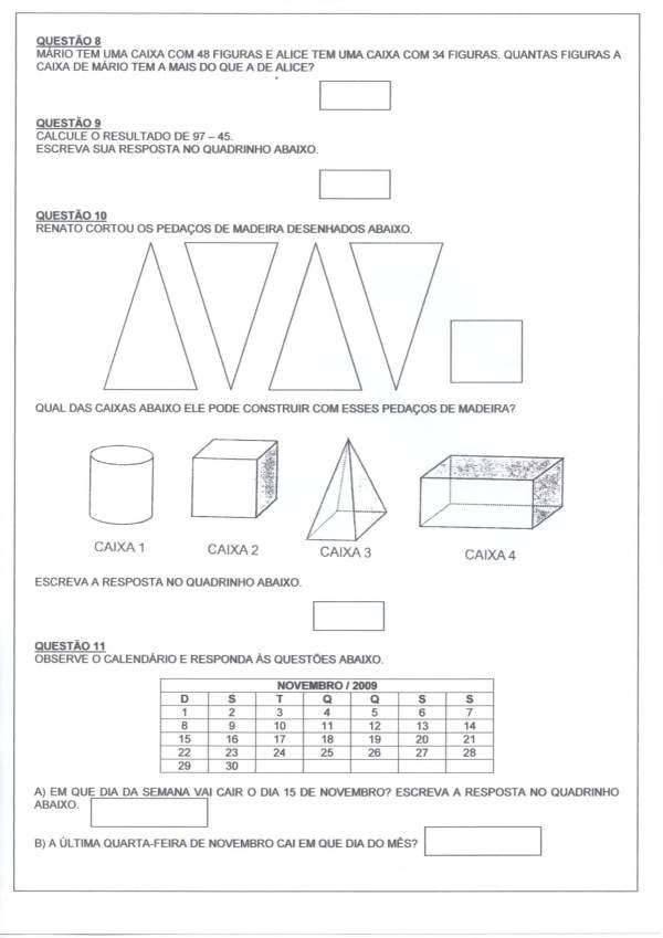 Avaliação Matemática-Numerais Sequência Problemas-Folha 2