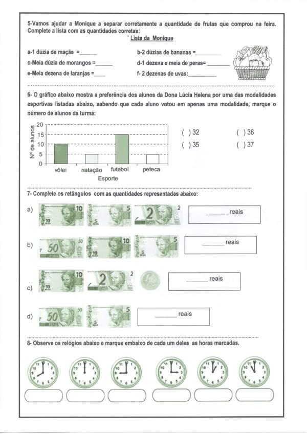 Avaliação de Matemática 4 e 5 Ano-Parte 2-Folha 2