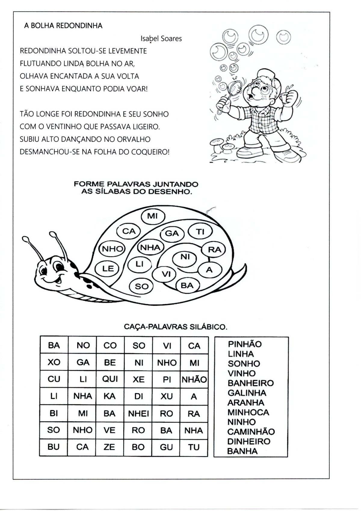 Escrita de Palavras e Frases com NH e LH