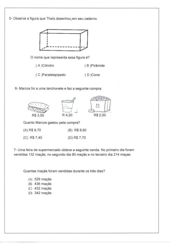 Avaliação Matemática-Sequência-Decomposição-Parte 1-Folha 2