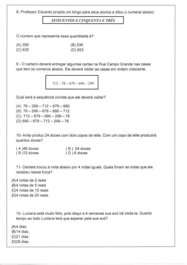 Avaliação Matemática-Sequência-Decomposição-Parte 3-Folha 6