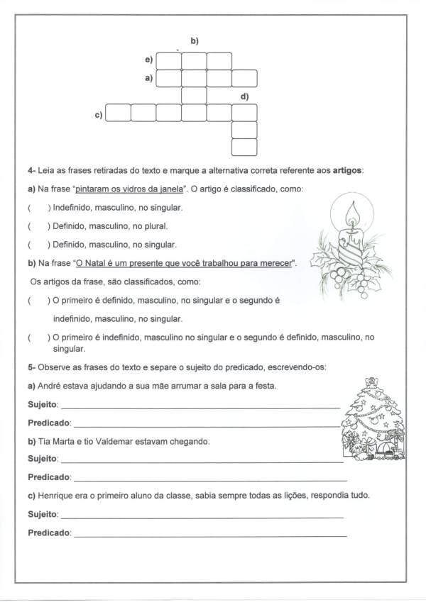 Avaliação de Língua Portuguesa 2-Sujeito e Predicado-Folha 4