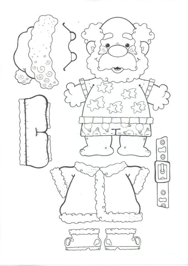 Papai Noel para Colorir e Montar 1
