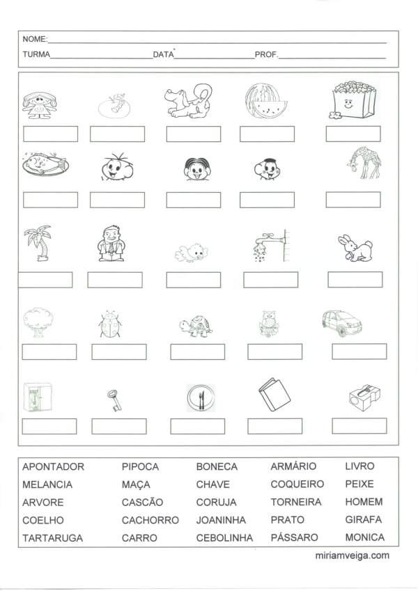 Avaliação de Leitura com banco de palavras