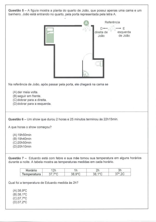 Avaliação Diagnóstica de Matemática 4 e 5 Ano-Parte 2-Folha 1