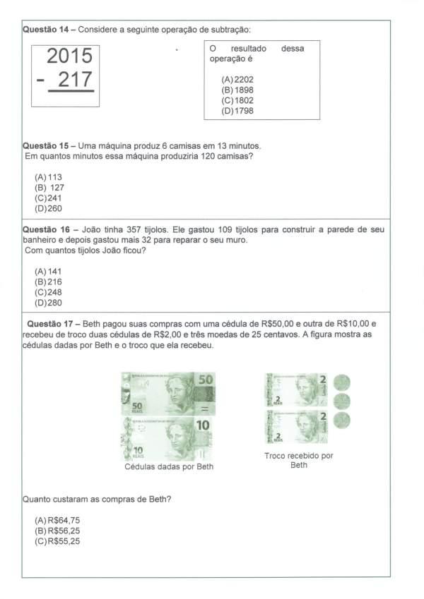 Avaliação Diagnóstica de Matemática 4 e 5 Ano-Parte 3-Folha 2