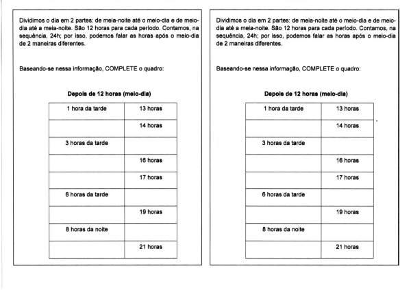 Atividade com hora-Antes e depois do meio-dia