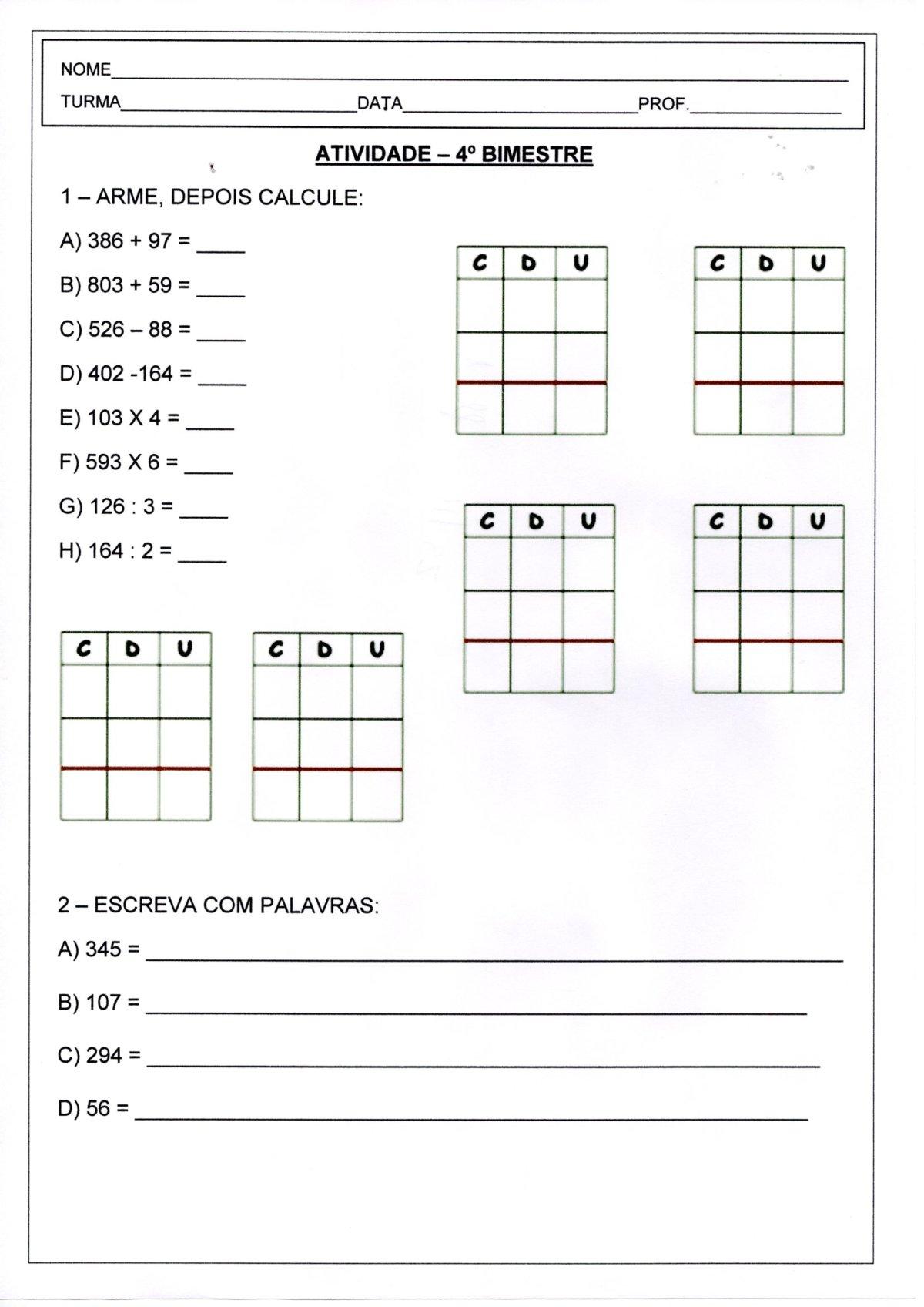 Avaliação de Matemática 4 Ano-Parte 1-Operações