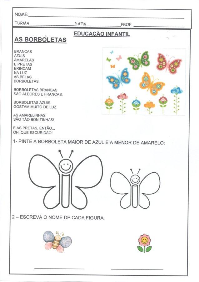"""Atividade de Educação Infantil e Avaliação Diagnóstica com o poema """"A Borboleta"""" para diagnosticar os alunos no início do ano-Folha 1"""