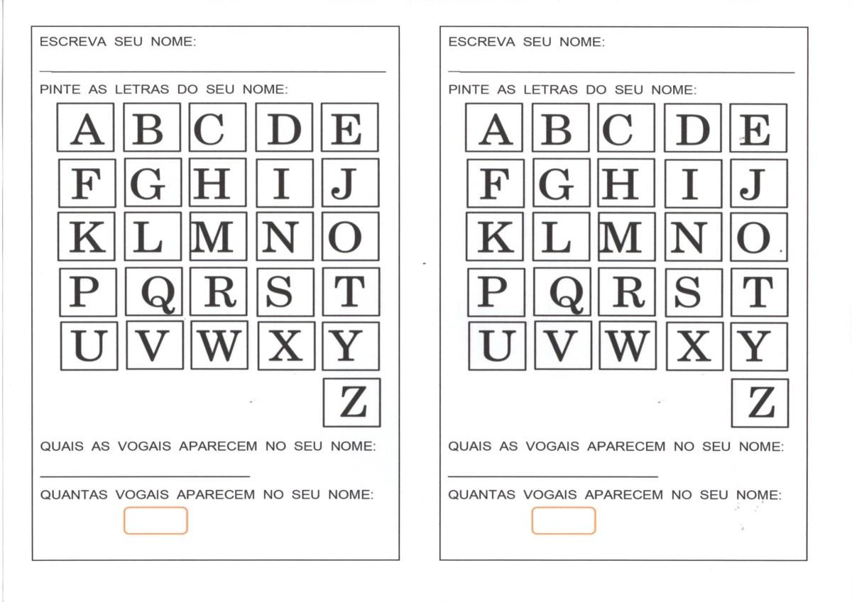 Avaliação com Alfabeto-Letra do nome