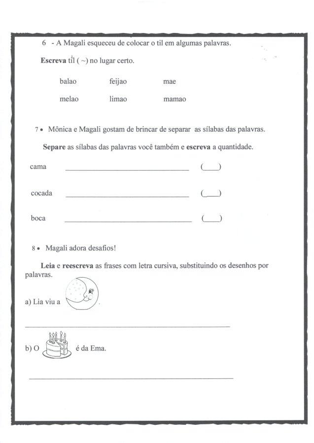 Avaliação Diagnóstica 1 Ano-Português-Parte 2-Folha 3