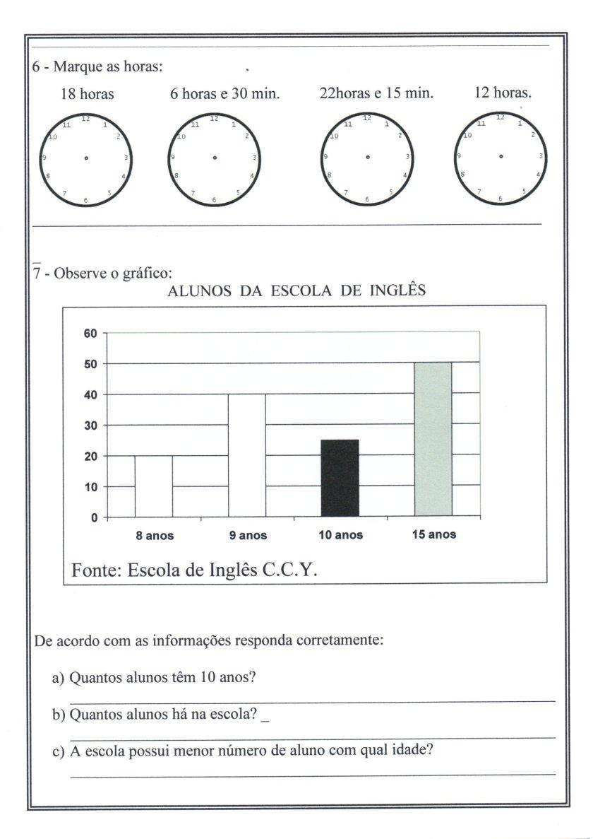 Numerais-Valor Tabela Relógio-Parte 3-Folha 3