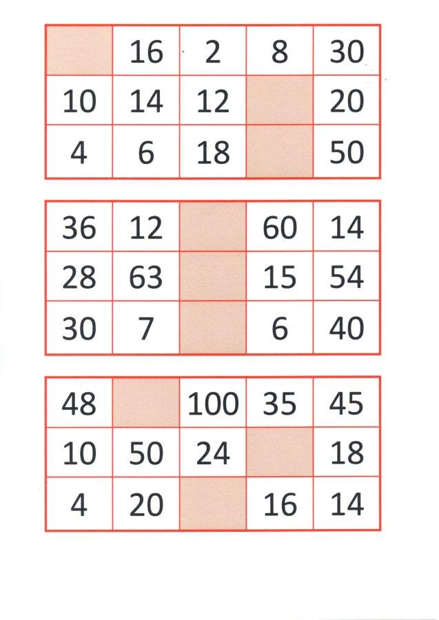 Bingo da Multiplicação-Cartelas e papéis para sorteio-Folha 2