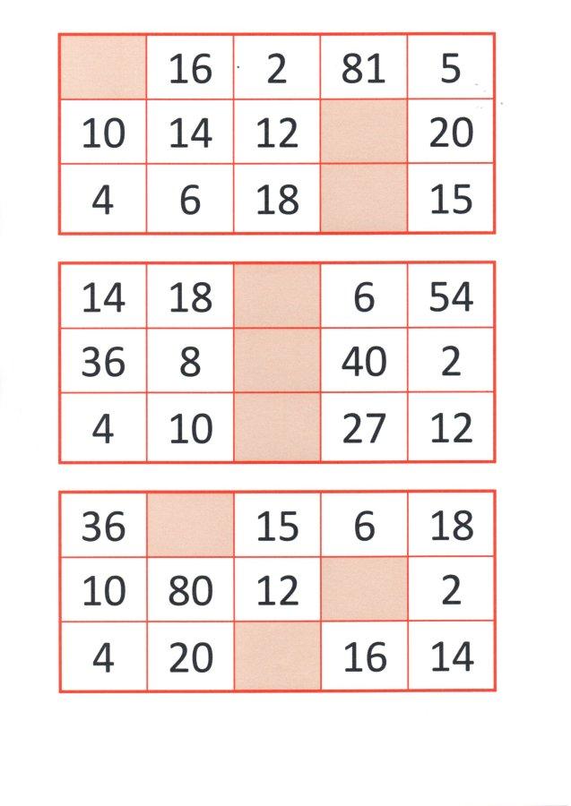 Bingo da Multiplicação-Cartelas e papéis para sorteio-Folha 3