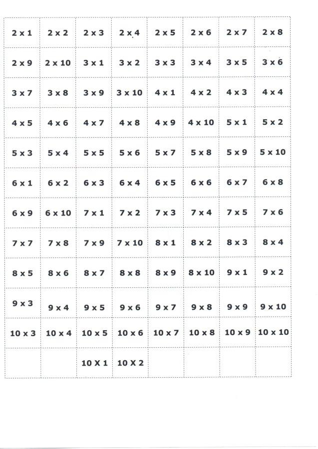 Bingo da Multiplicação-Cartelas e papéis para sorteio-Folha 11-Contas