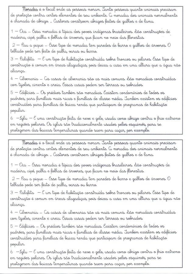 Tipos de moradia-Texto para treino de Letra Cursiva