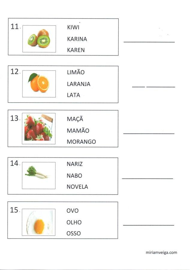 Frutas e verduras-Atividade de leitura-Parte 3-Folha 3