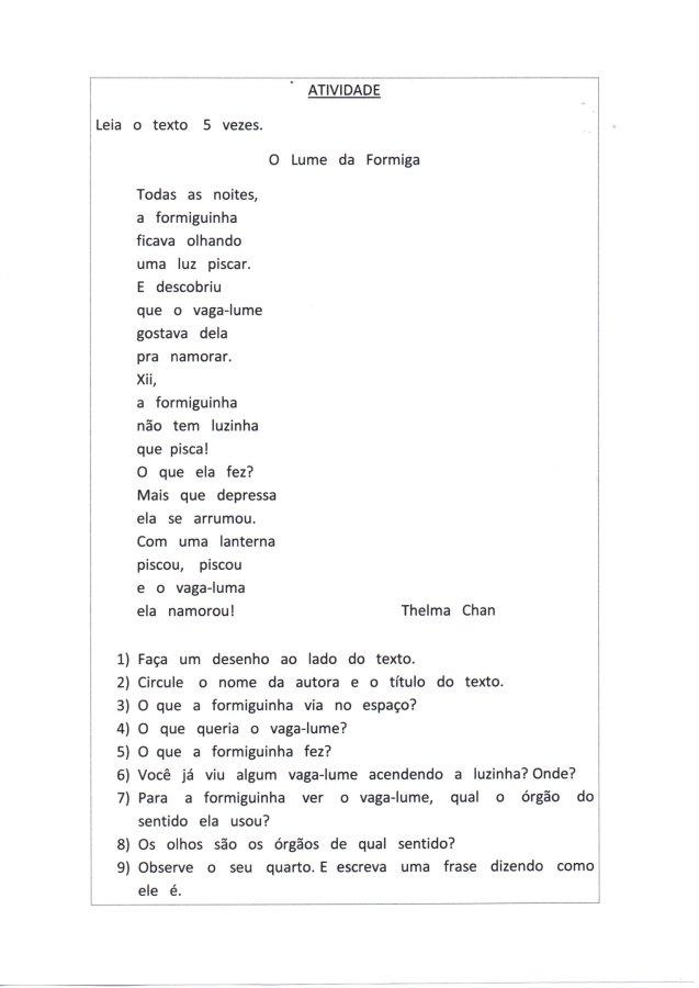 Texto-Leitura e Interpretação com questões