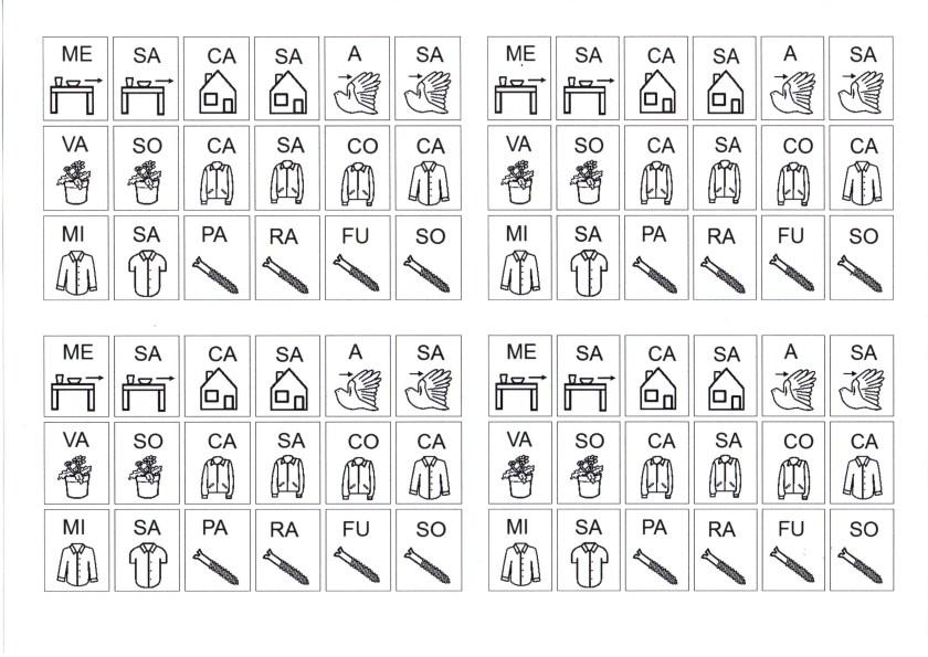 Sílabas para montar palavras-S com som de Z