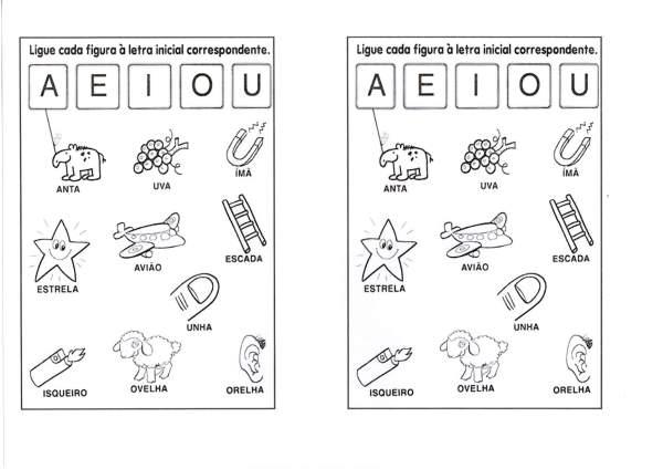 Atividades com vogais-Ligar vogais e escrever as falas-Folha 1