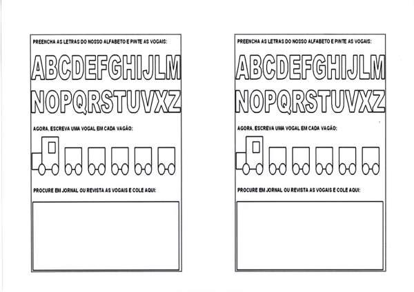 Alfabeto e vogais-Pintar as vogais-Folha 1