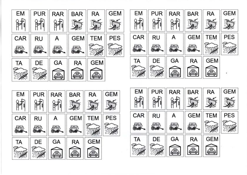 Figuras com sílabas para montar palavras