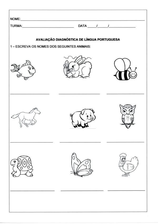 Avaliação Diagnóstica Língua Portuguesa-Animais-Folha 1