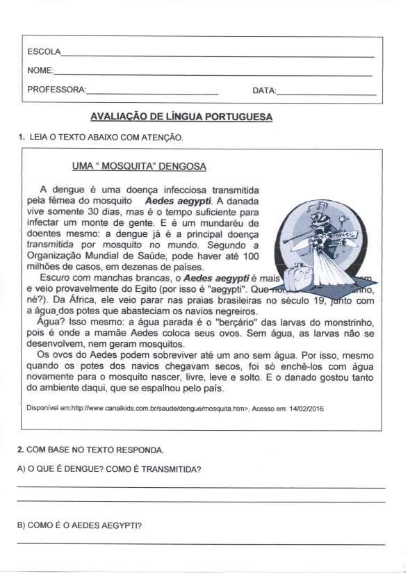 Avaliação de Língua Portuguesa Dengue - Folha 1