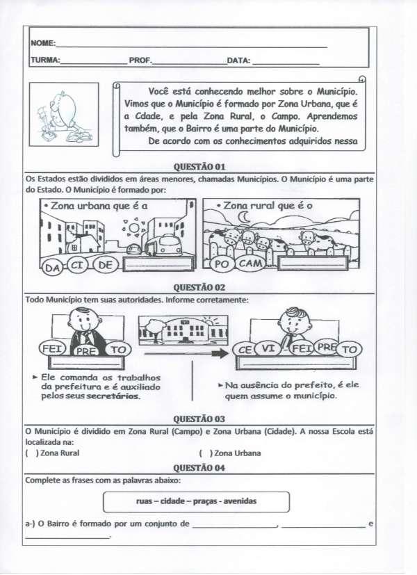 Atividade de Geografia-Zona Rural e Zona Urbana-Parte 1-Folha 1