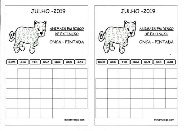 Calendário 2019 Julho-Aluno