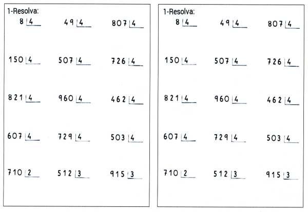 Atividades de Divisão-Matemática-Folha 1