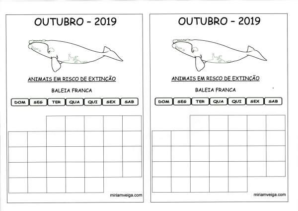 Calendário 2019 Outubro-Aluno