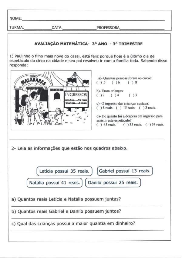 Avaliação Final 3 Ano-3 Trimestre-Matemática-Parte 1-Folha 1