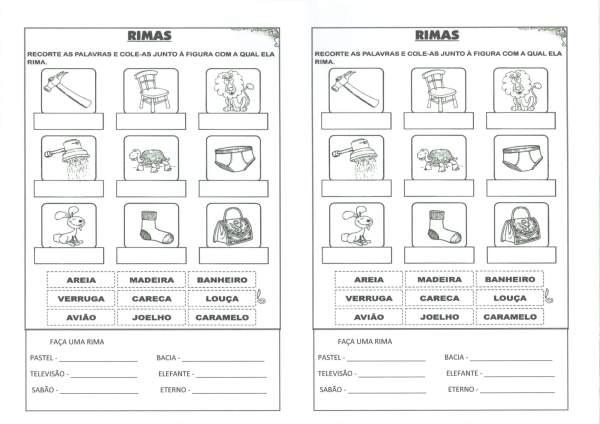 Atividade com Rimas e Lista de Palavras