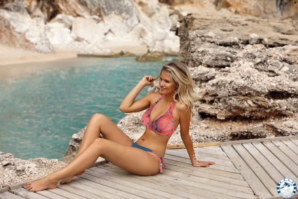 Ungefütterter Neckholder Bügel Bikini -Set Self i