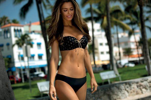 Push-up Balconette Bikini schwarz-gold