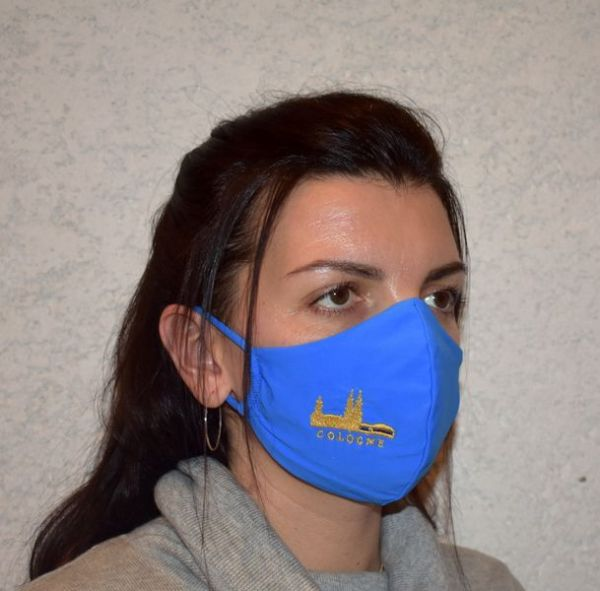 Schutzmaske,Mundschutz,Mundmaske Köln,Cologne stickerei blau-gold