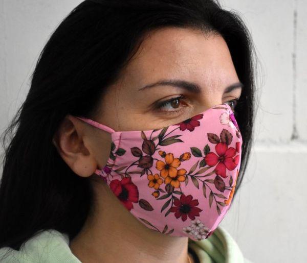 Schutzmaske,Mundschutz, Gesichtsmaske rosa mit Blumen
