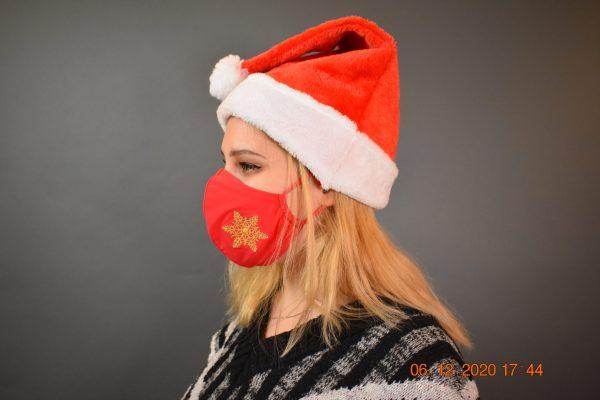 Behelfsmaske Mund-Nasen-Maske rot goldener Schneeflocke