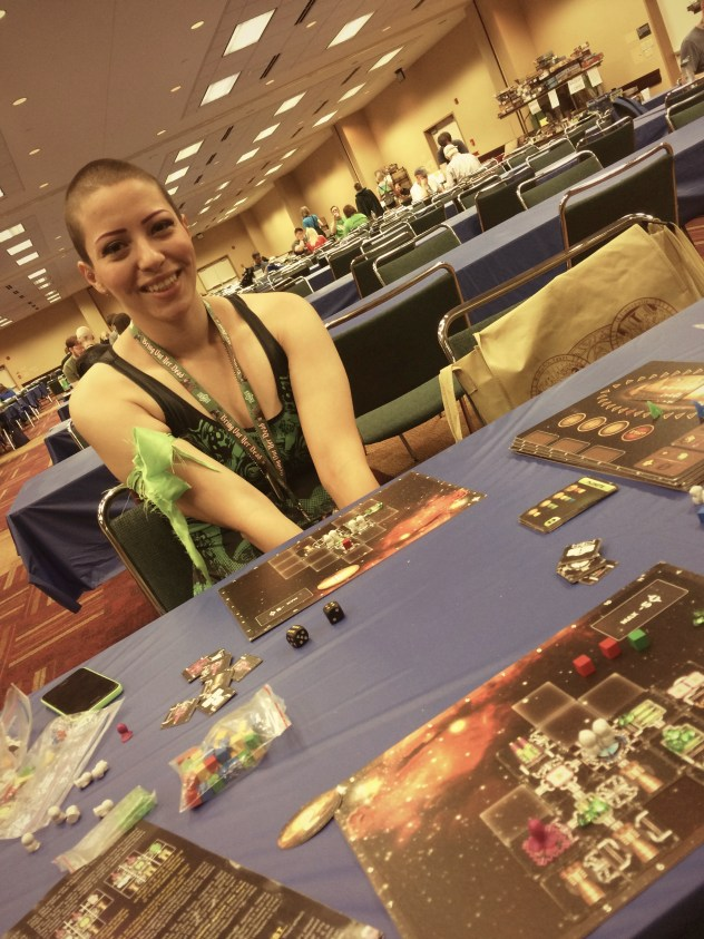 GenCon library, playing Galaxy Trucker at that moment
