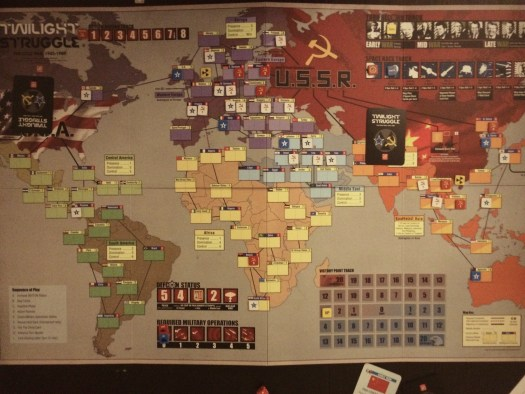 Twilight Struggle, round 2. Please do not mock our beginner strategies