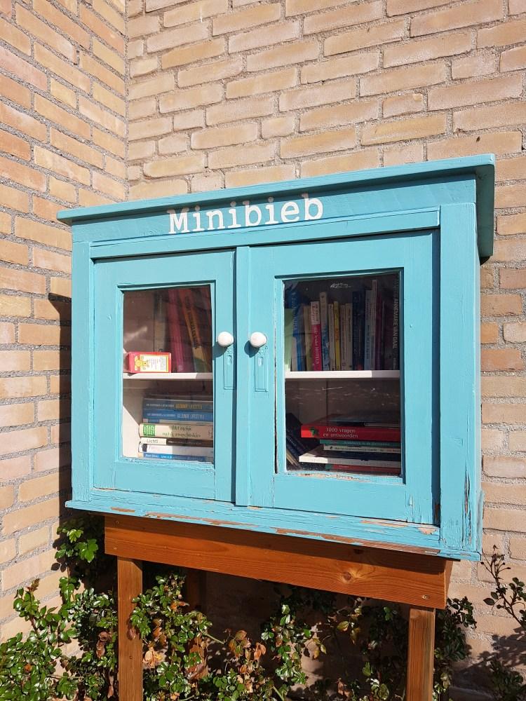 Er staat een lichtblauw kasje op een tafeltje tegen de buitenmuur van een huis. De zon schijnt op de foto. Het kastje heeft 2 deurtjes met glas erin. In het kastje staan en liggen boeken.